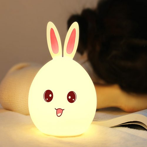 7 Colour Changing Rabbit LED Night Light Silicone Touch Sensor Tap Control Table Lamp 1