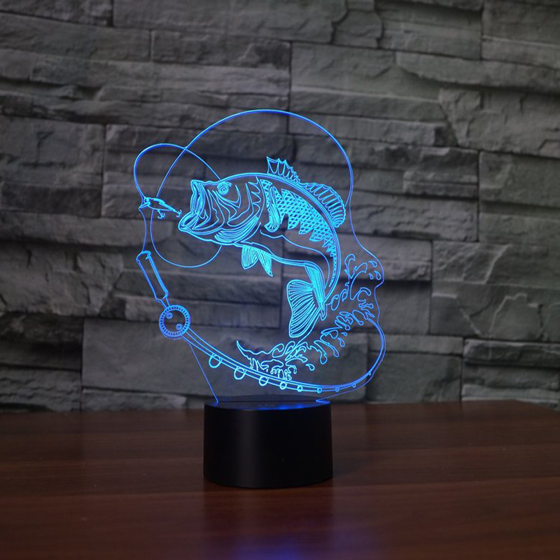 Catching Fish 3d Led Lamp