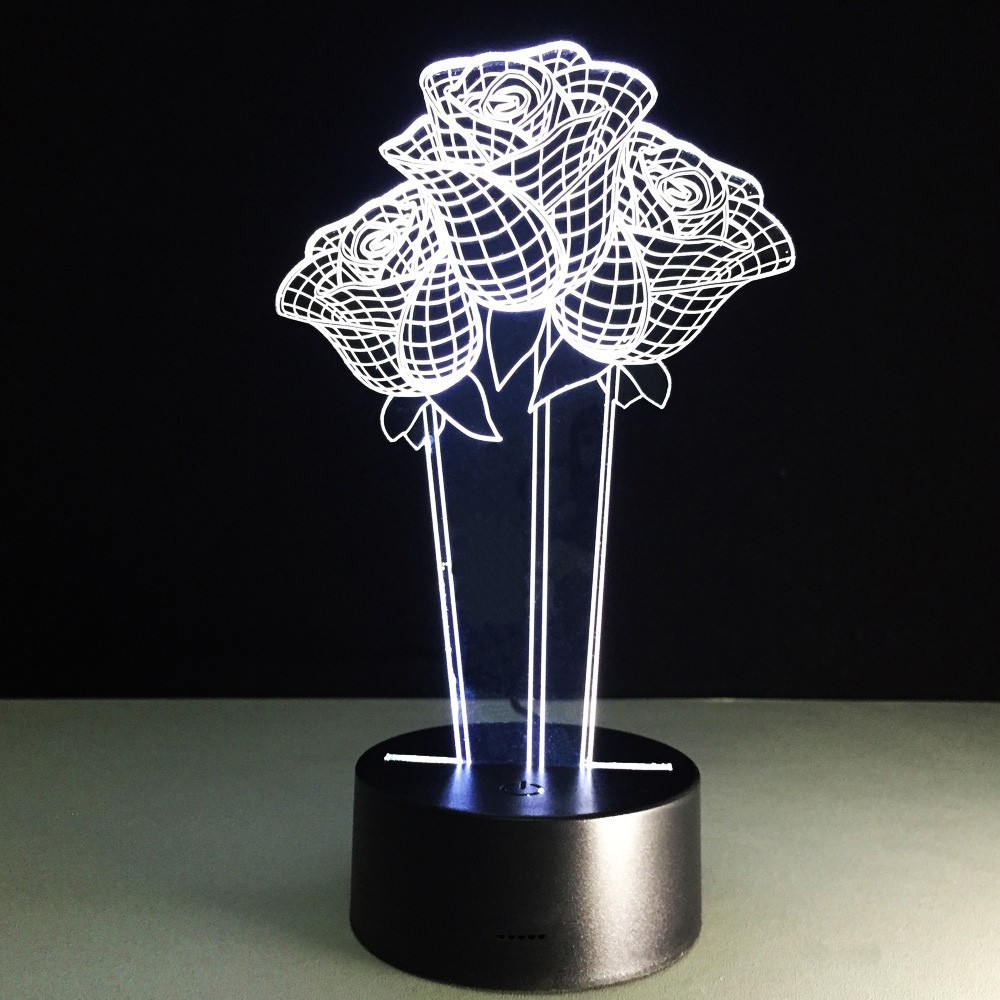 Bunch Of Roses 3d Led Lamp